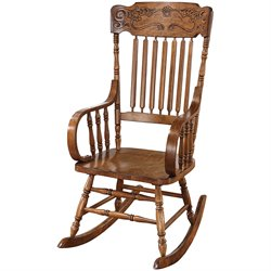 Coaster Ornamental Slatted Back Rocking Chair in Oak