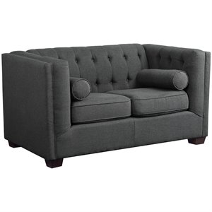 Coaster Cairns Fabric Loveseat in Charcoal