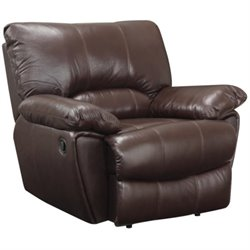 Coaster Leather Power Recliner in Brown