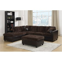 Coaster 2 Piece Fabric Sofa Set in Chocolate
