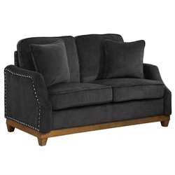Coaster Acklin Velvet Loveseat in Graphite