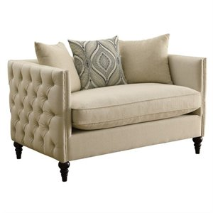 Coaster Claxton Tufted Fabric Loveseat in Beige