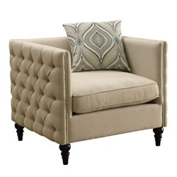 Coaster Claxton Tufted Fabric Chair in Beige
