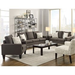 Coaster Bachman 3 Piece Fabric Sofa Set in Grey