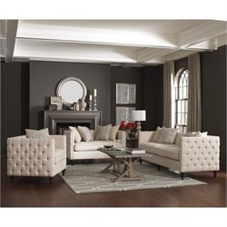 Coaster Claxton 3 Piece Tufted Fabric Sofa Set in Beige