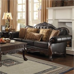 Coaster Amairani Leather Traditional Detail Sofa in Dark Brown