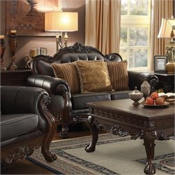 Coaster Amairani Leather Traditional Detail Loveseat in Dark Brown
