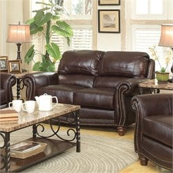 Coaster Lockhart Leather Loveseat in Burgundy Brown