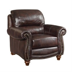 Coaster Lockhart Leather Accent Chair in Burgundy Brown