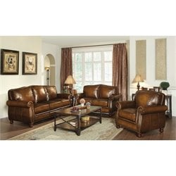 Coaster Montbrook 3 Piece Leather Sofa Set in Brown