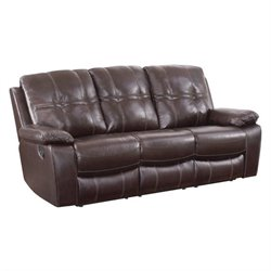 Coaster Holloway Leather Motion Reclining Sofa in Dark Brown