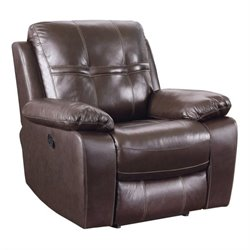 Coaster Holloway Leather Motion Glider Recliner in Dark Brown
