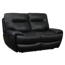 Coaster Sartell Leather Motion Reclining Loveseat in Black