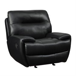 Coaster Sartell Leather Motion Glider Recliner in Black