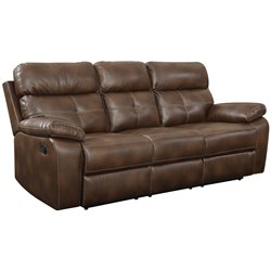 Coaster Damiano Faux Leather Motion Reclining Sofa in Brown