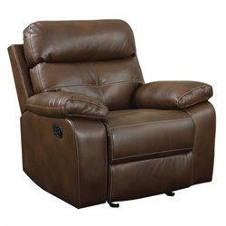 Coaster Damiano Leather Motion Glider Recliner in Brown