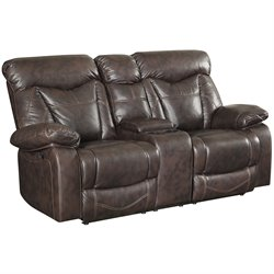 Coaster Zimmerman Faux Leather Motion Reclining Loveseat in Brown