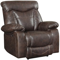 Coaster Zimmerman Leather Motion Recliner in Dark Brown