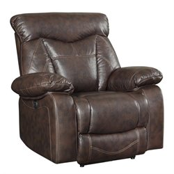 Coaster Zimmerman Faux Leather Power Recliner in Dark Brown