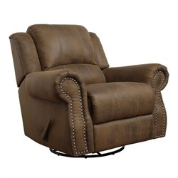 Coaster Rawlinson Microfiber Swivel Recliner in Brown