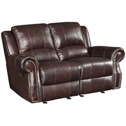 Coaster Rawlinson Faux Leather Motion Reclining Loveseat in Tobacco