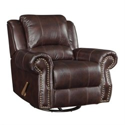 Coaster Rawlinson Leather Glider Recliner in Tobacco