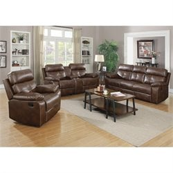 Coaster Damiano Faux Leather Motion Reclining Sofa Set in Brown