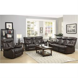 Coaster Zimmerman Faux Leather Power Reclining Sofa Set in Dark Brown