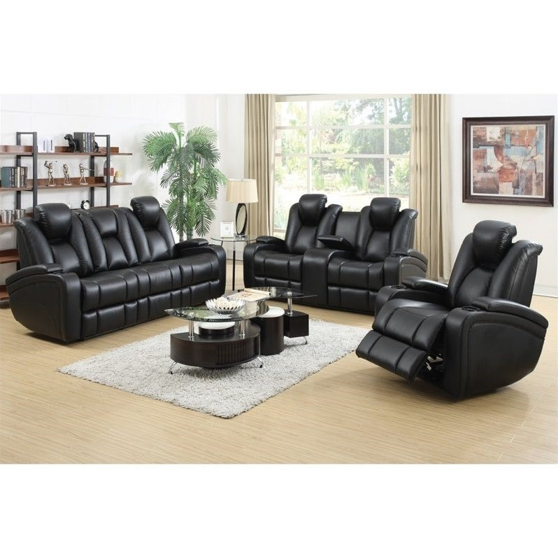 Coaster Delange Faux Leather Power Reclining Sofa Set In Black 601741p 42p 43p Set