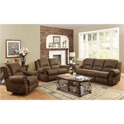 Coaster Rawlinson Microfiber Motion Reclining Sofa Set in Brown