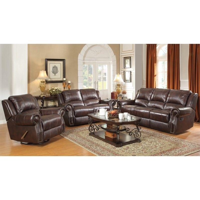 Coaster Rawlinson Faux Leather Motion Reclining Sofa Set In Tobacco