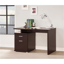 Coaster Contemporary Desk with Cabinet in Cappuccino