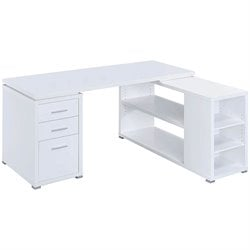 Coaster Yvette L Shaped Computer Desk in White