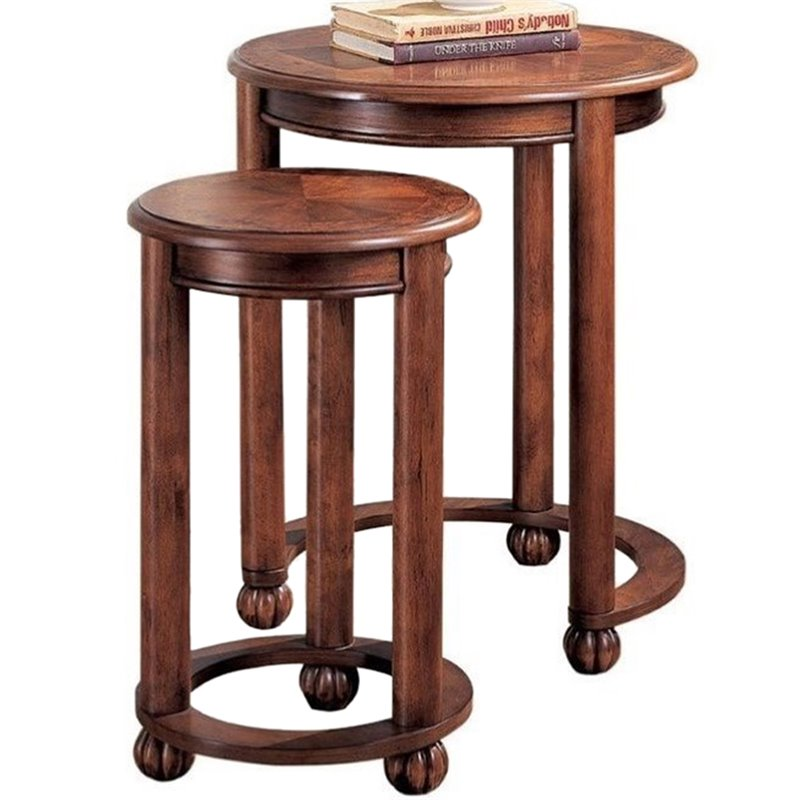 Coaster 2 Piece Round Nesting End Table Set in Warm Amber