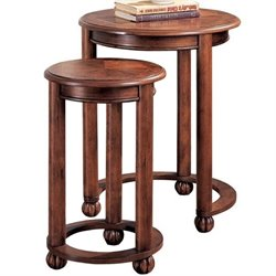 Coaster 2 Piece Round Nesting Table in Cherry