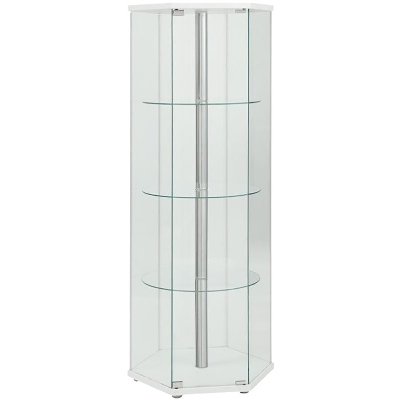 Coaster Glass Hexagon Curio Cabinet In White 950001