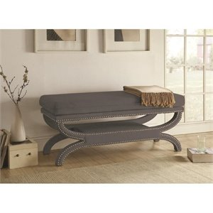 Coaster Fully Upholstered Bench in Grey