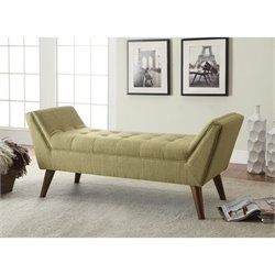 Coaster Modern Upholstered Accent Bench in Green