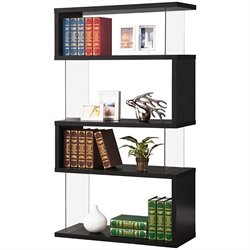 Coaster Asymemtrical Snaking Bookshelf in Black