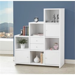 Coaster Asymmetrical Bookshelf in White