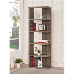 Coaster Weathered Semi-Backless Bookcase in Dark Grey