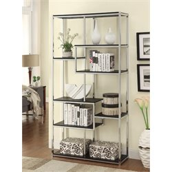 Coaster Contemporary Metal Frame Bookcase in Cappucino