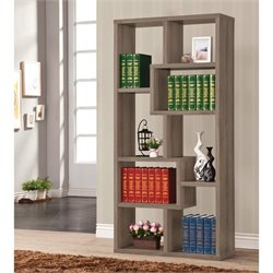 Coaster Open Back Bookcase in Dark Grey