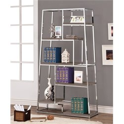 Coaster Contemporary Chrome Bookcase in Dark Grey