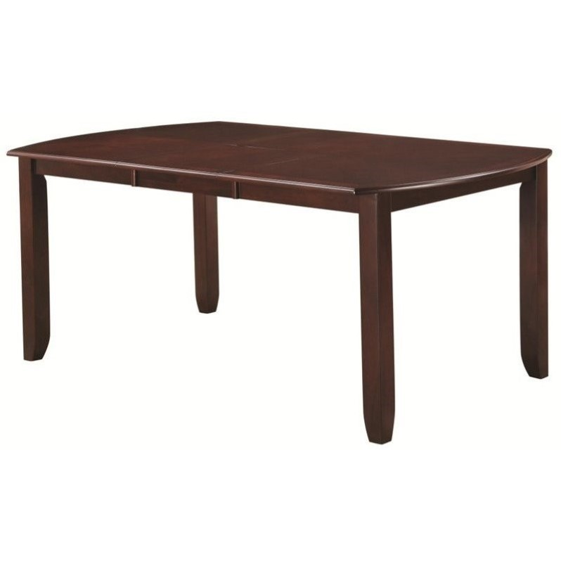 Coaster Dupree Casual Leg Dining Table in Dark Brown