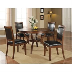Coaster Nelms 5 Piece Dining Set in Walnut and Dark Brown