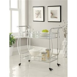 Coaster Glass Top Kitchen Cart in Chrome