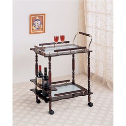 Coaster Glass Top Kitchen Cart in Cherry