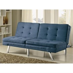 Coaster Contemporary Split Back Sleeper Sofa in Blue