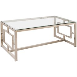 Coaster Contemporary Metal Coffee Table in Satin Nickel
